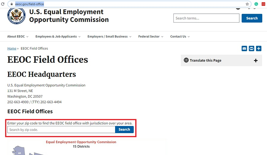EEOC contact information - field offices